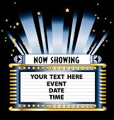 An Art Deco style theater marquee to announce a movie event play or magic show poster