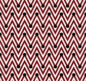 Red and White Horizontal Chevron Striped with Polka Dots Background that is seamless and repeats poster