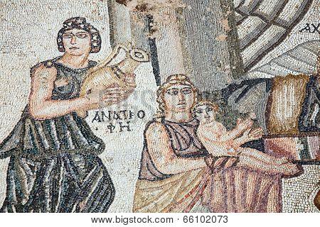 Roman mosaic first bath of Archilles