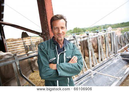 Smiling farmer standing in barn