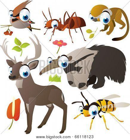 vector animal set: deer, wasp, bird, anteater, ant, saimiri