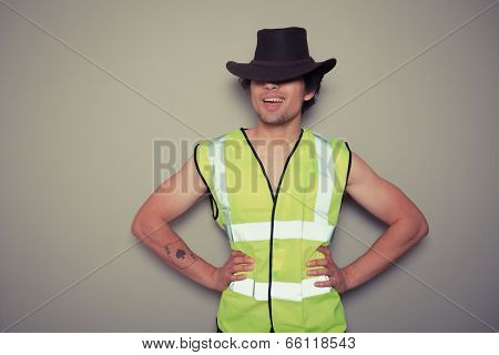 Cowboy Builder Wearing A High Visibility Vest
