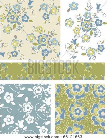 Seamless Floral Patterns and Icons. Use as fills or print off onto fabric to create unique items.