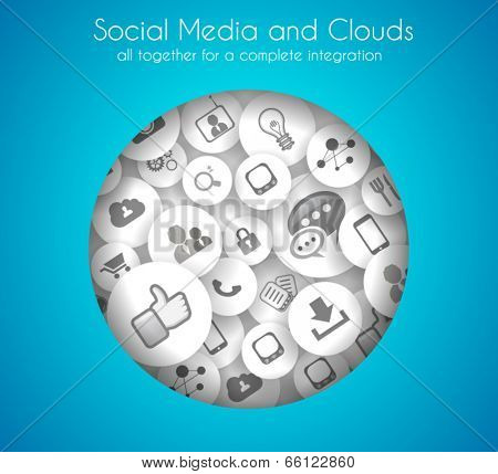 Social Media and Cloud concept background with a lot of icons for seo, advertising banners, cover materials or branding brochures