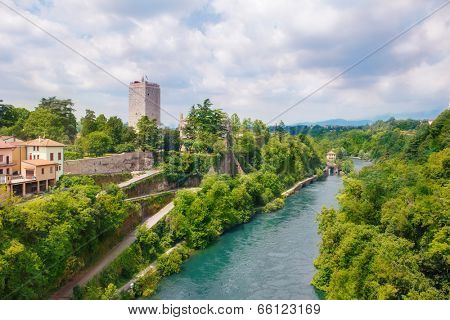 View on the massive Visconti castle  and Adda river in Trezzo sull'Adda, region Lombardy, Italy poster