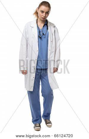 Female Doctor Walking Wearing Lab Coat