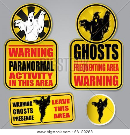 WARNING GHOSTS SIGNS
