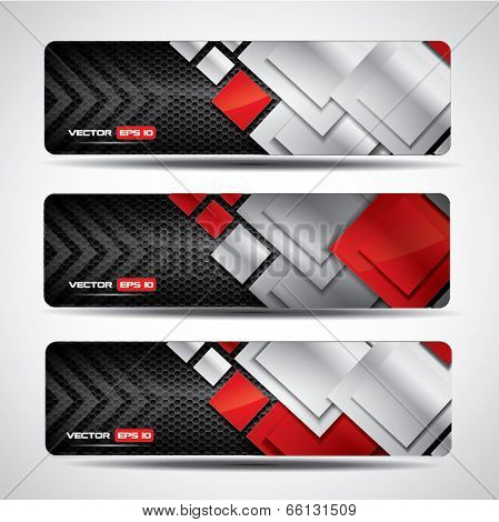 Banner set - metallic and carbon layout with red rectangular design elements