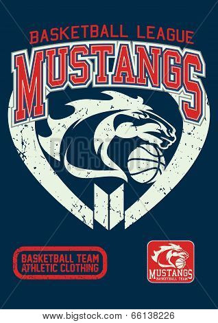 Mustangs basketball league on a navy background. poster