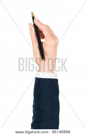 pen in the hand isolated on white background poster