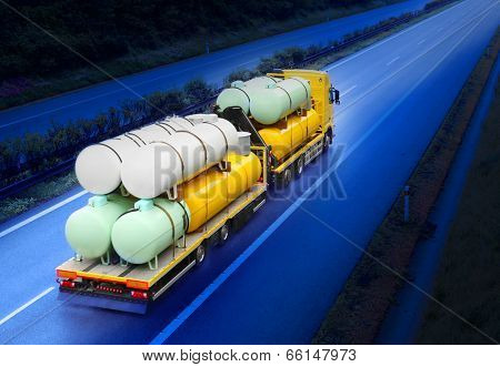 The tanker truck on the highway. poster