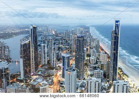 Gold Coast twilight cityscape