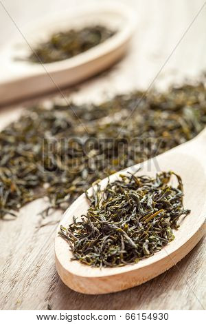 Spoons With Green Tea Herbs