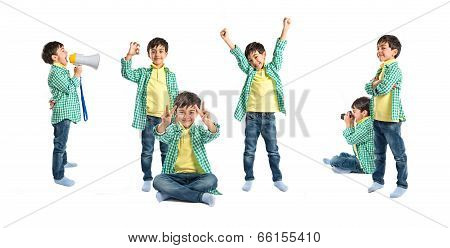 Set Of Cute Kids Over White Background