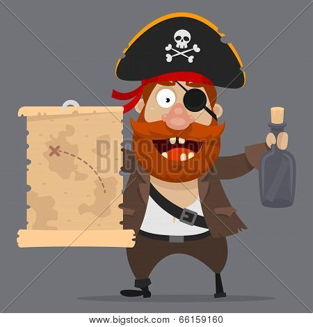 Character pirate holds card and bottle