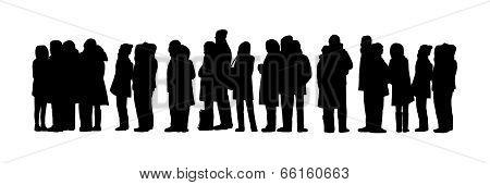 Long People Queue Silhouette Set 1