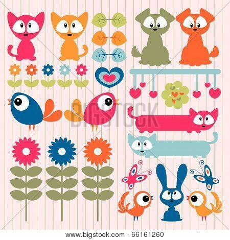 Set of vector scrapbook elements cute animals poster