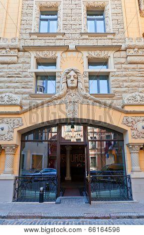Portal Of Hotel Neiburgs In Riga, Latvia