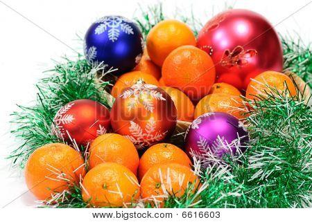 Mandarin,pine Branches And Christmas Balls