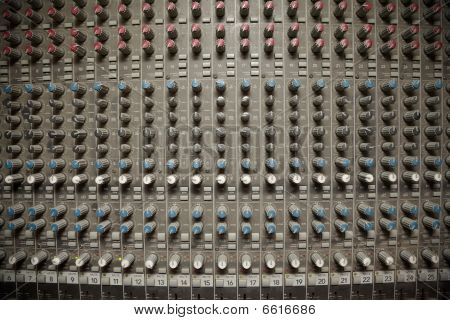 panorama of old dirty sound mixer pult