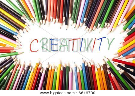Colored Pencils Border, and Creativity write isolated poster