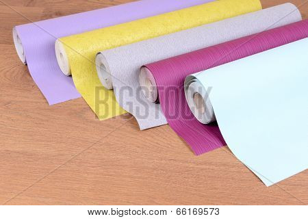 Wallpapers on wooden floor