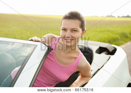 Happy Woman In Car