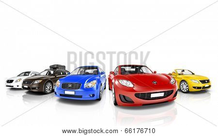 Colorful 3D Cars in a Row
