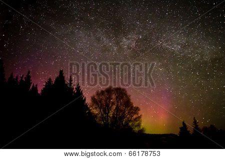 Milky Way Above Aurora Glow