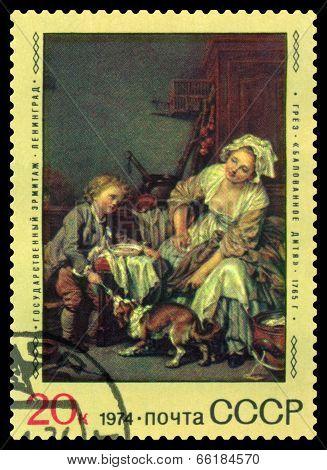 Vintage  Postage Stamp. Spoiled Child, By Jean Greuze.