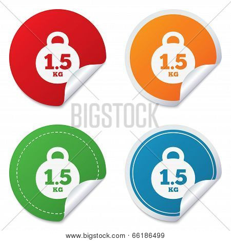Weight sign icon. 1.5 kilogram (kg). Mail weight