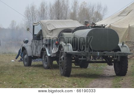 KIEV, UKRAINE - NOV 3: German historical military transport is displayed on the Field of Battle military history festival on November 3 , 2013 in Kiev, Ukraine