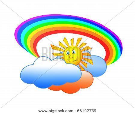 Sun Clouds And Rainbow