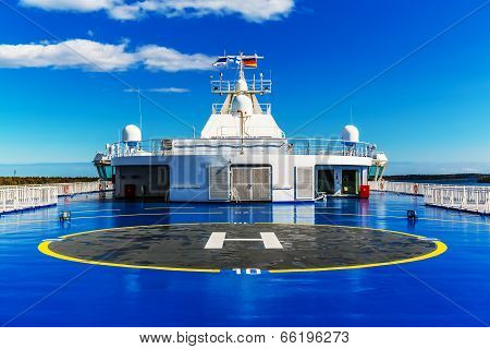 Helipad for helicopter on the upper deck of big cruise ship poster