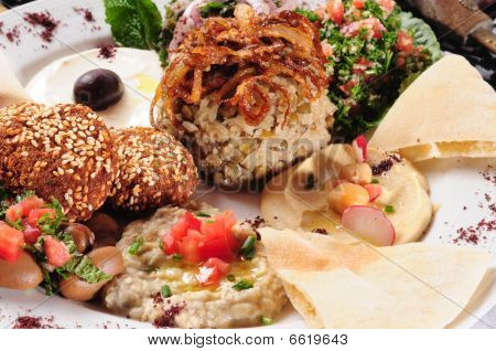 Ethnic from Lebanon, mixed plate with rice and vegetables. poster