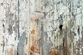 Old wood  planks with white peeling paint background poster