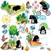 cartoon set with mole in camping, difference situation,isolated images for little kids poster