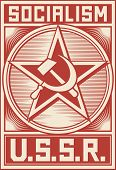 Soviet Propaganda Poster  with hammer and sickle poster