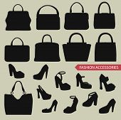 Set of black silhouettes of fashion women's handbag and high-heeled shoes.Fashion illustration,vector poster