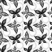 Seamless pattern, symbolical butterflies black contours on white background. Vector poster