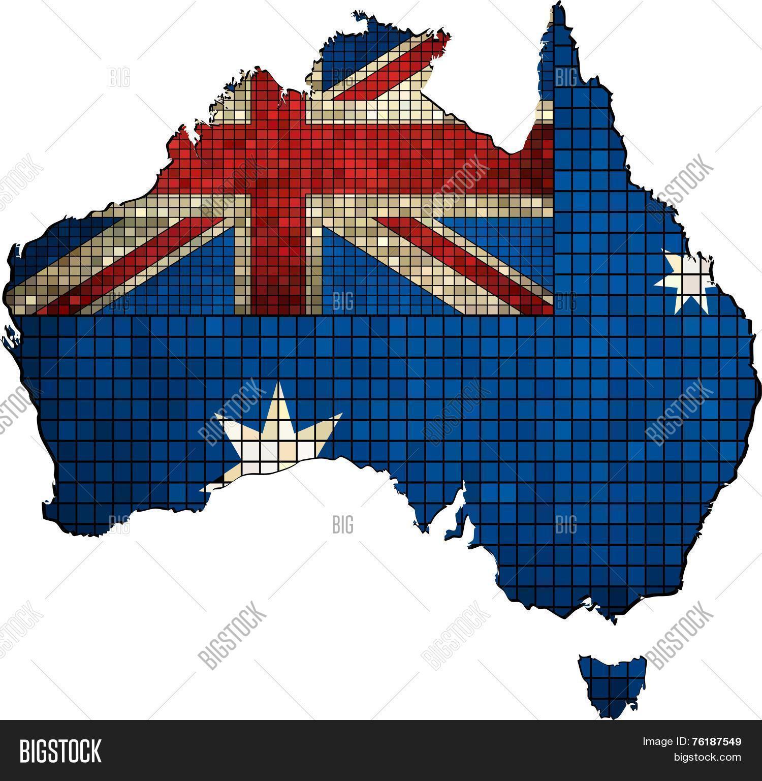 Australia Map And Flag.Australia Map Flag Vector Photo Free Trial Bigstock