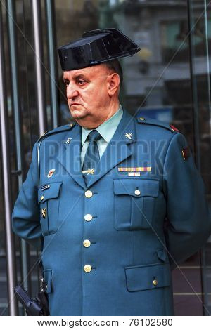 Gendarme Police Minstry Of Justice Puerta Del Sol Gateway Of The Sun Plaza Square Madrid Spain