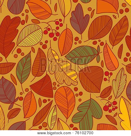 Vector Seamless Pattern With Leaf, Leaf Background. Seamless Pattern, Abstract Leaf Texture, Endless