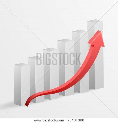3D Business Growth Bar Graph. Vector Illustration.