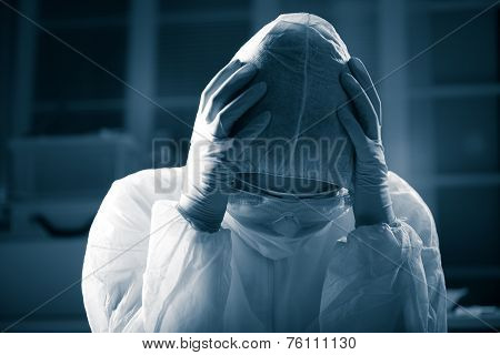 Terrified Scientist In Hazmat Suit