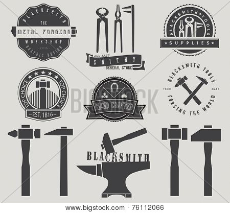 Blacksmith Labels and Shop Signs - Set of monochrome labels themed around blacksmith tools and supplies