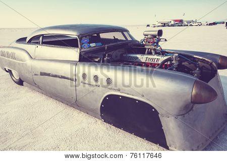 WENDOVER, UT - AUGUST 9: High speed car on the Bonneville Salt Flats during Bonneville Speed Week on August 9, 2012 near Wendover, UT.
