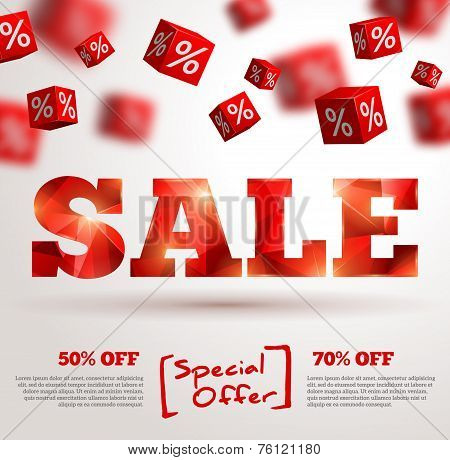 Sale poster. Vector illustration. Design template for holiday sale event.
