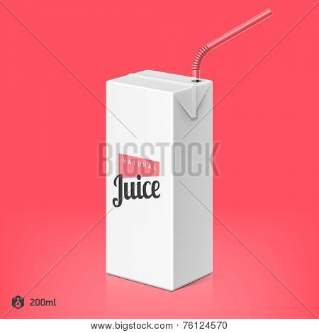 Juice or milk package with drinking straw template, 200ml. Vector.