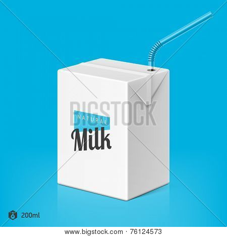 Milk or juice package with drinking straw template, 200ml. Vector.